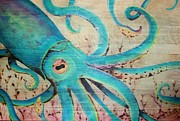Octopus Mixed Media Framed Prints - Squidwood Framed Print by Melissa Senesac