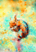 Squirrel Painting Acrylic Prints - Squirrel At Breakfast Acrylic Print by Rosalina Atanasova