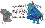 Squirrel Mixed Media Framed Prints - Squirrel Ninja Ninja Squirrel Framed Print by Mike Jory