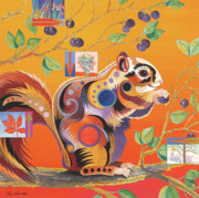 Abstracted Mixed Media Posters - Squirrelling Away Poster by Bob Coonts
