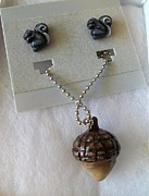 Grey Black Jewelry - Squirrels and Acorn by Kristin Lewis