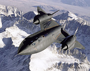 Snow Covered Prints - Sr-71b Blackbird In Flight Print by Stocktrek Images
