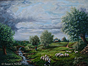 Flock Of Sheep Painting Posters - SRB Sheep Meadow Poster by Susan Herber