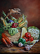 Vegetables Paintings - SRB Veggie Basket by Susan Herber