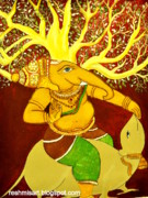 Ganapathi Paintings - Sri Ganesha mural by Subha devi Gopinath