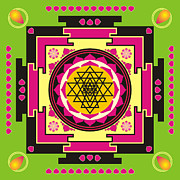 Sacred Artwork Metal Prints - Sri Yantra mandala Metal Print by Steeve Dubois