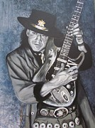 Celebrities Framed Prints - SRV - Stevie Ray Vaughan  Framed Print by Eric Dee