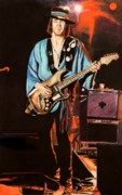 Guitar Drawings Posters - Srv Poster by Chris Benice