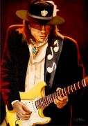 Blues Guitar Paintings - SRV Forever by Al  Molina