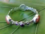 Sterling Silver Chains Jewelry - SS Bangle with Iridescent Glass Gem Red Marbles by fmnjewel - Fernando Situmeang