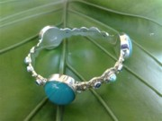 Sterling Silver Earring Jewelry - SS Bangle with Turquoise Opaque Glass Gem Marbles by fmnjewel - Fernando Situmeang