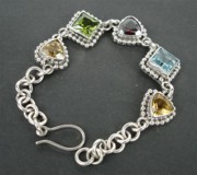 Sterling Silver Chains Jewelry - SS Bracelet with Semi Precious Stones by fmnjewel - Fernando Situmeang