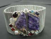 Byzantine Originals - SS Mesh Chain Bracelet with Semi Precious Stones with Bayonet Clasp by fmnjewel - Fernando Situmeang
