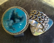 White Topaz Jewelry - SS Ring with Indonesian Turquoise Drusy by fmnjewel - Fernando Situmeang