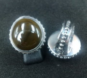 Sterling Silver Earring Jewelry - SS Ring with Opaque Glass Gem Marbles  by fmnjewel - Fernando Situmeang