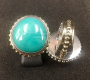 Bali Twisted Chain Jewelry - SS Ring with Turquoise Opaque Glass Gem Marbles  by fmnjewel - Fernando Situmeang