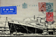 Luxury Liner Prints - SS United States - Post Card Print by Bill Cannon