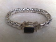 White Topaz Jewelry - SS Wheat Chain Bracelet with Onyx by fmnjewel - Fernando Situmeang
