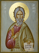 Byzantine Painting Prints - St Andrew the Apostle and First-Called Print by Julia Bridget Hayes