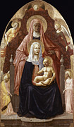 Enthroned Prints - St. Anne, Madonna & Child Print by Granger