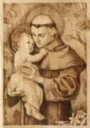 Baby Jesus Pyrography Prints - St. Anthony Print by Conrad  Pinto