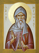 Orthodox Painting Framed Prints - St Anthony the Great Framed Print by Julia Bridget Hayes