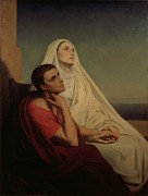 Man Framed Prints - St Augustine and his mother St Monica Framed Print by Ary Scheffer