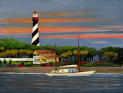 Gouache Paintings - St. Augustine Light by Gordon Beck