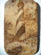Landscape Greeting Cards Pyrography Posters - St Augustine Lighthouse Poster by Doris Lindsey
