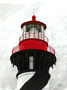 Lighthouse Drawings - St. Augustine Lighthouse Lantern by William Howard