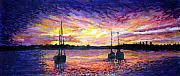 Florida Bridge Mixed Media - St. Augustine Sunrise by Suzanne  Frie