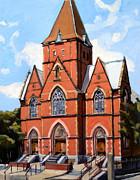 Old Buildings Paintings - St. Augustines Church by Deb Putnam