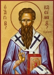Orthodox Painting Framed Prints - St Basil the Great Framed Print by Julia Bridget Hayes