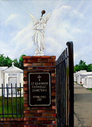 Graves Paintings - St. Bernard Historic Cemetery by Elaine Hodges