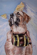 Barrel Paintings - St. Bernard Savior by Bob  Orlin