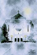 Canada Art Mixed Media Prints - St. Boniface Cathedral Print by Madeline M Allen