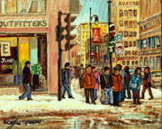 Montreal Storefronts Paintings - St Catherine And Peel  Downtown Montreal by Carole Spandau