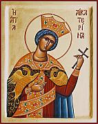 Icon Byzantine Framed Prints - St Catherine Framed Print by Julia Bridget Hayes