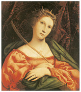 Catherine Framed Prints - St. Catherine Framed Print by Lorenzo Lotto