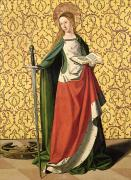 French Open Paintings - St. Catherine of Alexandria by Josse Lieferinxe