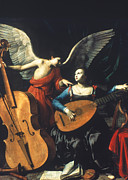 Double Bass Prints - St. Cecilia And The Angel Print by Granger