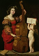 Sainte Cecile Prints - St. Cecilia with an angel holding a musical score Print by Domenichino