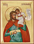 Icon Byzantine Painting Posters - St Christopher Poster by Julia Bridget Hayes