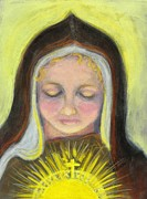 Religious Art Paintings - St. Clare of Assisi All Aglow by Susan  Clark