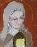 Catholic Art Painting Originals - St. Clare of Assisi II by Susan  Clark