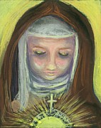 Religious Art Painting Posters - St. Clare of Assisi Poster by Susan  Clark