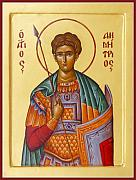 Icon Byzantine Posters - St Demetrios the Great Martyr and Myrrhstreamer Poster by Julia Bridget Hayes