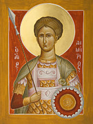 Byzantine Painting Prints - St Demetrios the Myrrhstreamer Print by Julia Bridget Hayes