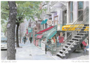 City Scene Drawings - St-Denis Street by Wilfrid Barbier