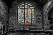 Medieval Framed Prints - St Dyfnog Window Framed Print by Adrian Evans